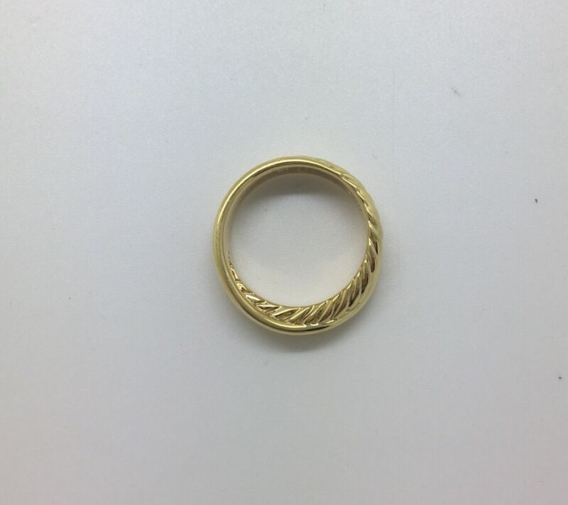 David Yurman 18k 750 Yellow Gold Stackable Crossover Cable Band Ring 6.5