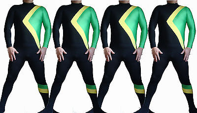 4 PCS Jamaican Bobsled Fancy Dress Party Halloween Costume Zentai Olympic Movie