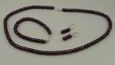 Button Pearl Necklace Bracelet Earrings (Freshwater Button Pearl Necklace,Bracelet and Earring Set Silver Clasp )