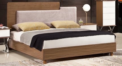 Timber Queen Size Bed Headboard Solid Slats Wooden Bed Frame