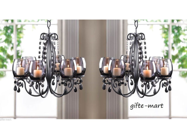 2 BLACK crystal chandelier CANDELABRA Candle holde