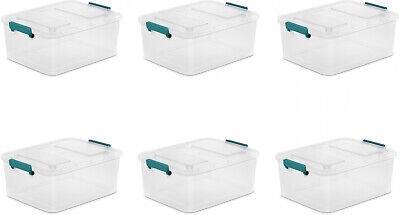 6 PACK Large Latch Storage Box 12.7 Quart Sterilite Containe