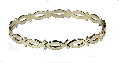 4030606 Gold Tone Christian Fish Bangle Bracelet Ichthus -