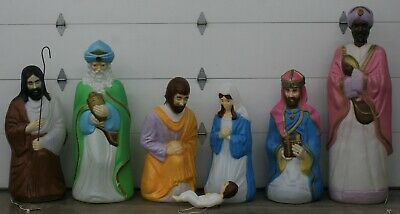 Vintage 8 Piece Set Empire Life Size Nativity Set Lighted Christmas Blow Mold