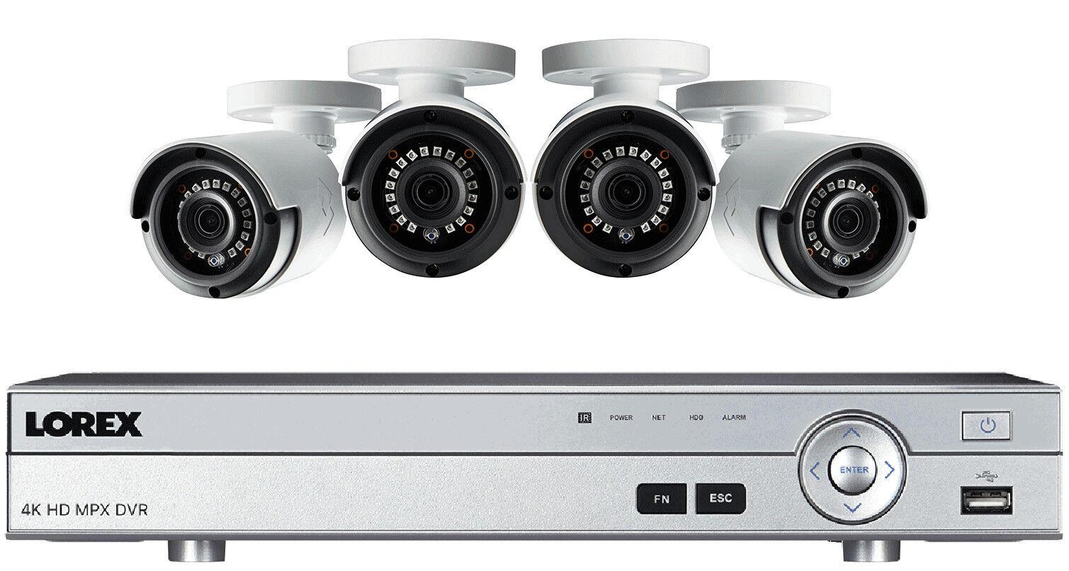 Lorex 4K DV9082  8 Channel DVR with 4 LBV2531 1080P Cameras 130ft Night Vis.