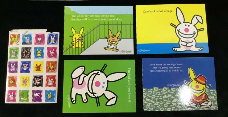 Happy Bunny Jim Benton Postcards Post Cards Sticker Stickers Lot Of 5