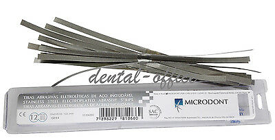 Dental Microdont Stainless Steel Serrated Strips Coarseone-sided 4150mm 12pcs