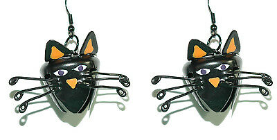 CUTE BLACK CAT BELL HALLOWEEN DANGLE EARRINGS (H179) (Black Cat Cute Halloween)