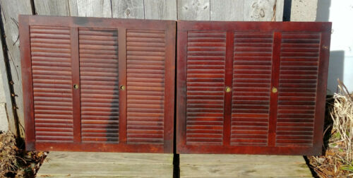 Antique 19th Century Primitive Victorian Wood Slat Clip Interior Window Shutters