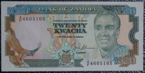 ZAMBIA COLORFUL 20 KWACHA BILL P-32b c.1989 crisp UNC!