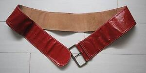 Handmade luscious soft leather Red belt with square buckle Penshurst Hurstville Area Preview