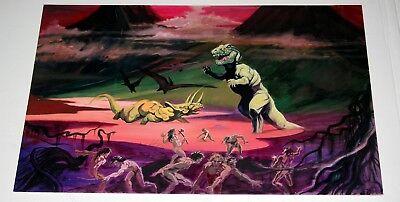 T-Rex Triceratops Dinosaur Battle original Bob Dara Art for Blacklight Poster