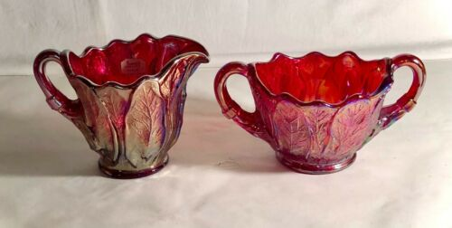 Imperial Everglade Sunset Ruby Creamer And Sugar With Original Tag