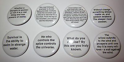 "DUNE Quotations Set of 8 1 1/4"" Custom Buttons Litany Against Fear Frank Herbert"