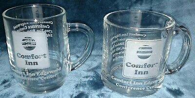 Comfort Inn 2 Vintage Clear Glass Coffee Cups Mugs Edgewood Md Only One On Ebay