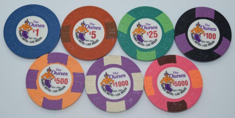 Set of 7 The Dunes $1-$5-$25-$100-$500-$1K-$5K Casino Chips Las Vegas Nevada