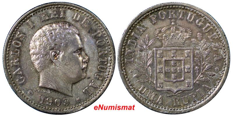 India-Portuguese Carlos I Silver 1903 1 Rupia Mintage- 200,000 Ch.XF  KM# 17