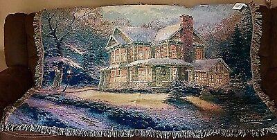 Thomas Kinkade Victorian Christmas Tapestry Blanket