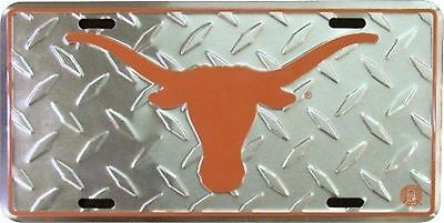 University of Texas Longhorns Diamond Pattern Metal Car License Plate Sign Texas Longhorns Metal License Plate