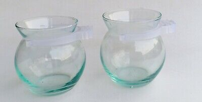 Glass cup, bird feeder, adhesion type, polished with cage, clear, see bird food