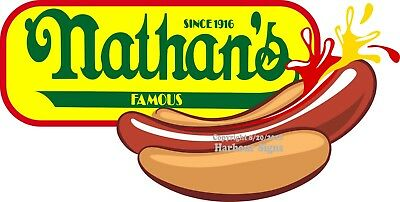 Choose Your Size Nathans Hot Dogs Decal Dog Concession Food Truck Sticker