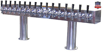 Stainless Steel Draft Beer Tower Made In Usa 16 Faucets Glycol Ready - Ptb-16ssg