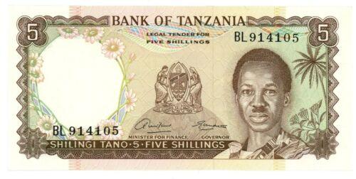 Tanzania ... P-1 ... 5 Shillings ... ND(1966) ... Choice *UNC*