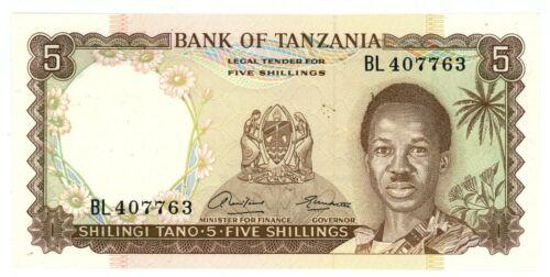 Tanzania ... P-1 ... 5 Shillings ... ND(1966) ... *UNC* .