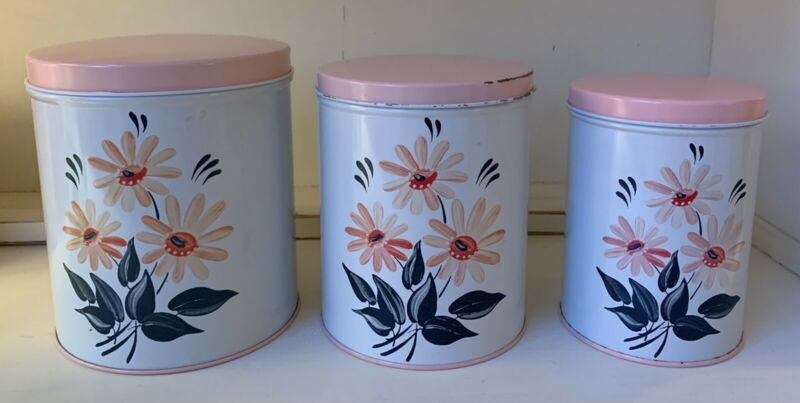 Excellent Vintage NC Colorware PINK DAISY Canister Set Of 3- Super Clean!