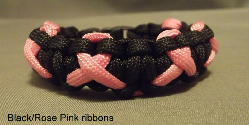 Handmade Paracord Unique Breast Cancer Awareness Bracelet - Black & Pink Ribbon