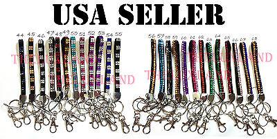 Rhinestone Crystal Cell Phone Holder Key Chain Wristlets Lanyard Striped Checker Checker Crystal