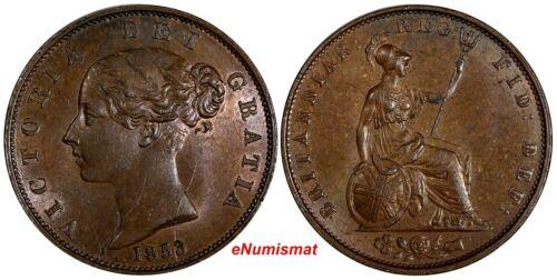 GREAT BRITAIN Victoria (1837-1901) Copper 1853 Half 1/2 Penny Luster KM726/787