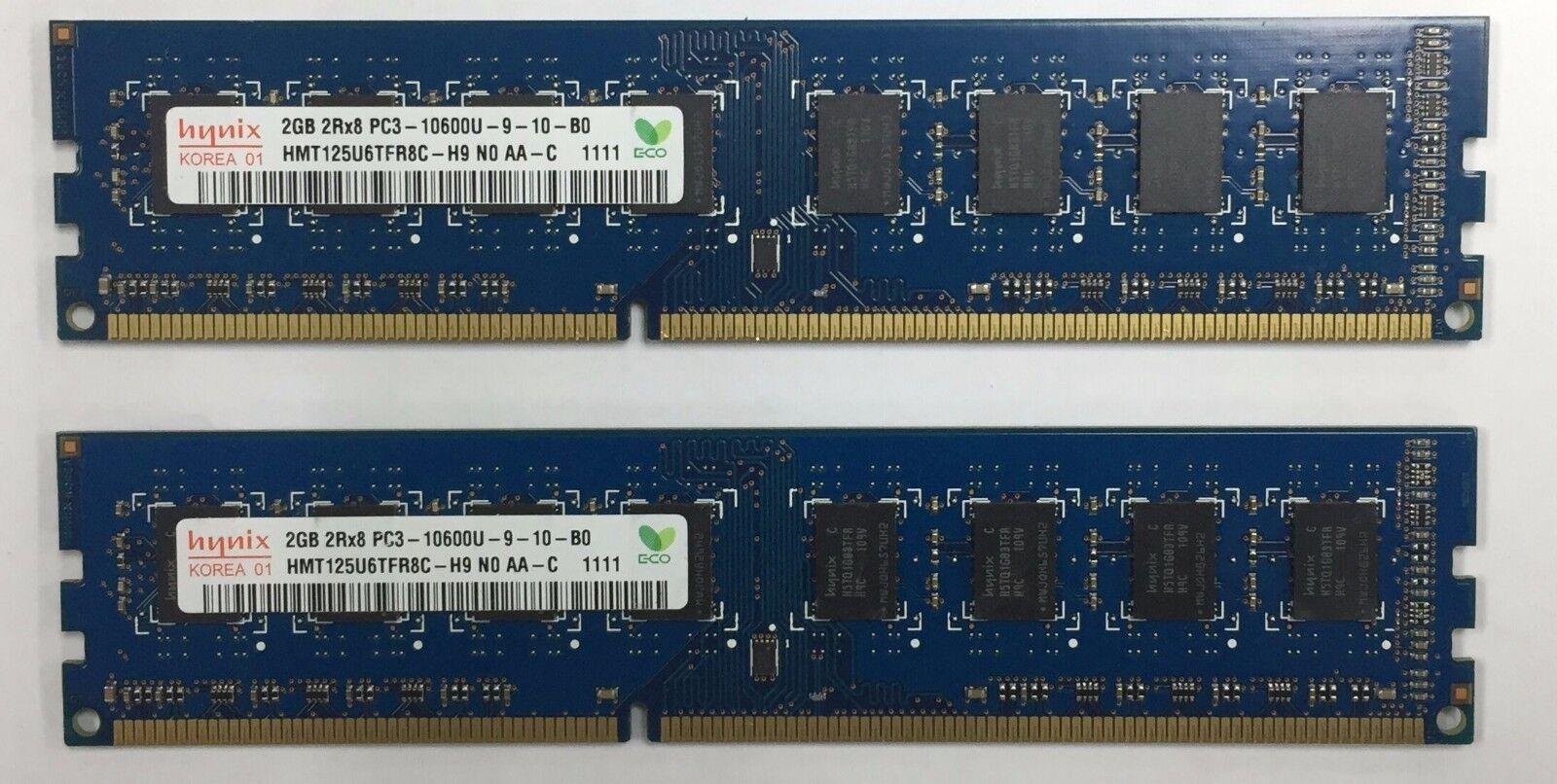 Samsung Kingston Hynix 4gb *2x2gb 2Rx8 PC3-10600U-9-10-B0 240 Pin Memory *TESTED