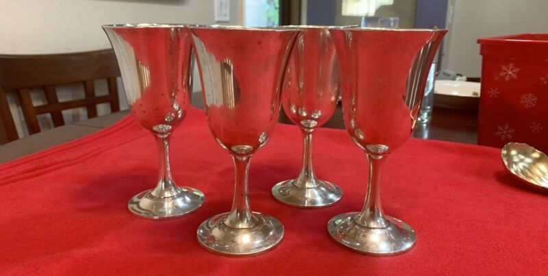 4 Wallace 16 (STERLING) Water Goblet Goblets