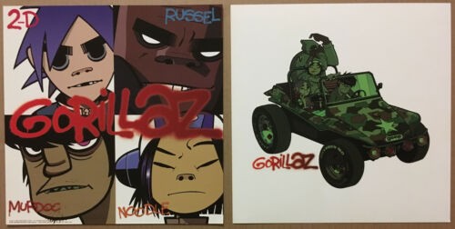 Blur GORILLAZ Rare Set 2 DOUBLE SIDED PROMO POSTER FLAT for 2001 CD MINT USA
