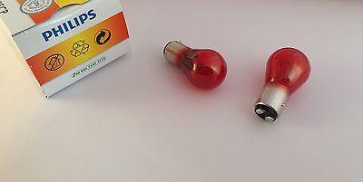 2 x PHILIPS Glühlampe PR21/5W 12V 21/5W BAW15d rot 12495 12495CP 2-Phasen Lampe ()