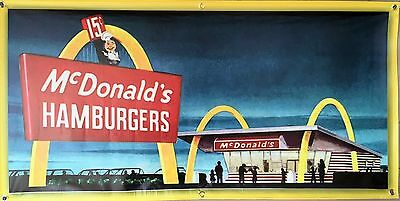 MCDONALDS DRIVE-IN HAMBURGER RESTAURANT WALL ART BANNER MURAL VINTAGE AD 2 X 4