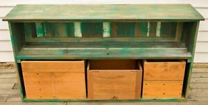 RUSTIC SOLID TWO SHELVES SIDEBOARD WITH THREE CRATES