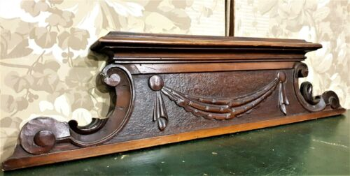 Gothic bow scroll leaf wood carving pediment Antique french crest cornice