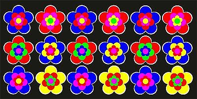 18 Stück ca. 5 cm Retro Retrostyle Blumen Blume Aufkleber AN1540