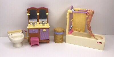 Fisher Price Loving Family Dollhouse Bathroom Shower Toilet Vanity Furniture Lot