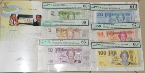 FIJI FULL SET OF 2-100 $ IN FOLDER UNC MATCHING LOW NUMBERS QEII 2007 PMG 66 EPQ