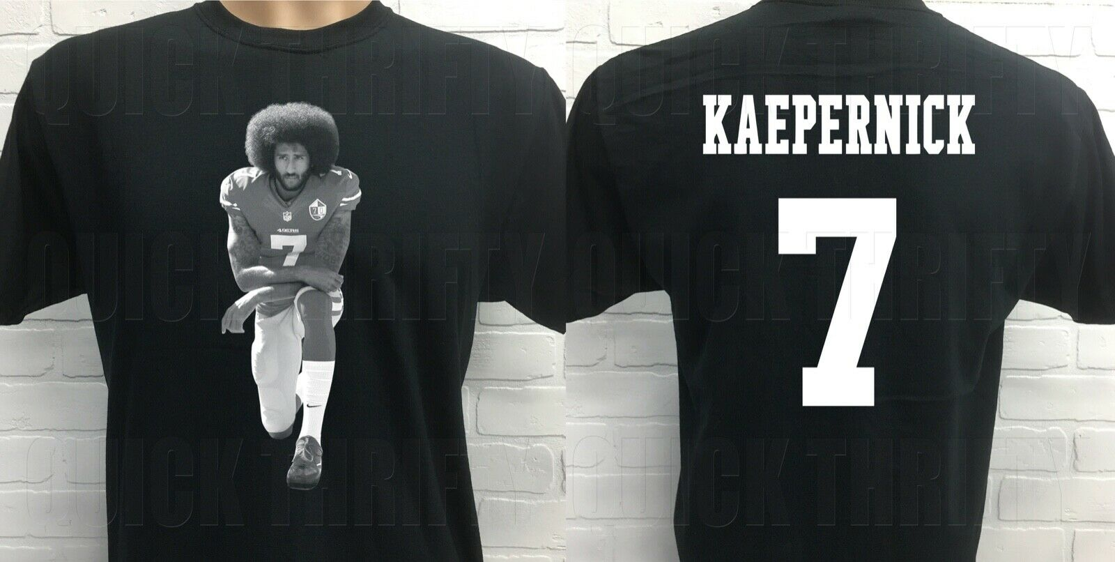COLIN KAEPERNICK ***TAKE A KNEE*** DOUBLE SIDED BLACK T-SHIRT