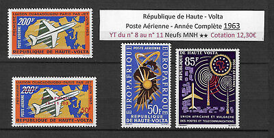 French Upper Volta 1963 (4 Air Mail Stamps) MNH ** Complet Year - 12, 30€