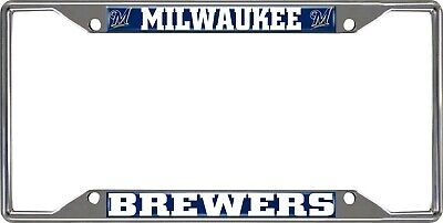 Fanmats MLB Milwaukee Brewers Chrome Metal License Plate Frame Del. 2-4 Days