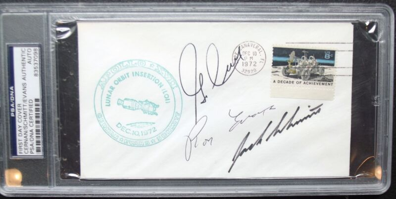 Apollo 17 Crew Signed Cover Cernan, Schmitt & Evans PSA/DNA Authenticated Nice