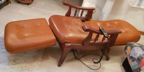 ???? fauteuil relax électrique en cuir et bois avec repose pieds amovible -...