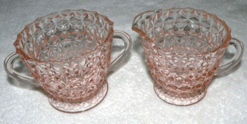 VINTAGE CREAMER & SUGAR JEANNETTE HOLIDAY BOWS AND BUTTONS DEPRESSION GLASS