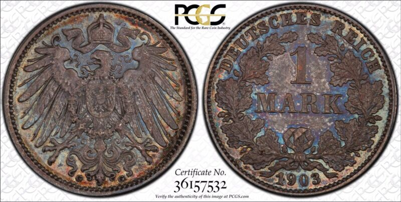 1903 G 1 Mark PCGS MS64 Germany Empire Colorfully Toned Blue Hues