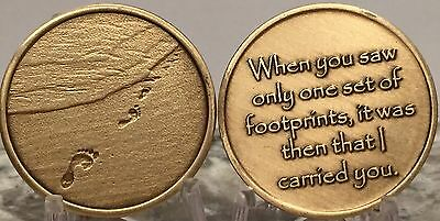 Footprints In The Sand Bronze Medallion Chip Coin Token Foot Prints Carried You